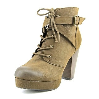 Material Girl Rhodes Women Round Toe Synthetic Brown Ankle Boot