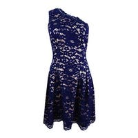 Vince Camuto Women's One-Shoulder Lace Dress - Navy