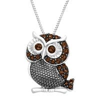 1/2 ct Natural Smokey Quartz Owl Pendant in Sterling Silver - Brown