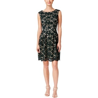 Vince Camuto Womens Cocktail Dress Lace Pleated