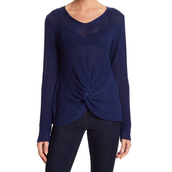 Woven Heart Womens Woven Knot-Front Pullover Sweater