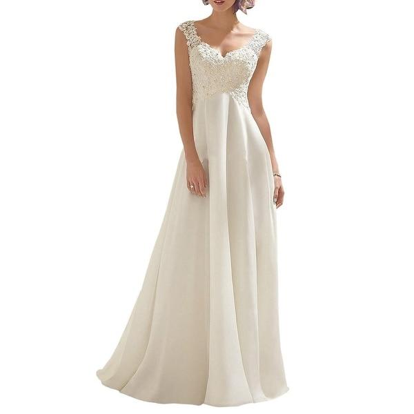 Shop Abaowedding Womens Dress White Ivory Size 14 Lace V