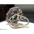 4.75TCW 14K Natural Emerald & Diamond One of a Kind Estate Deco Cocktail Ring - Thumbnail 3