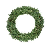 "48"" Pre-Lit Canadian Pine Artificial Christmas Wreath - Clear Lights - Green"