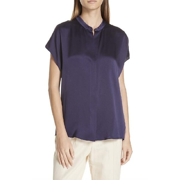 Vince Womens Blue Short Sleeve Shirt Blouse Size S. Opens flyout.