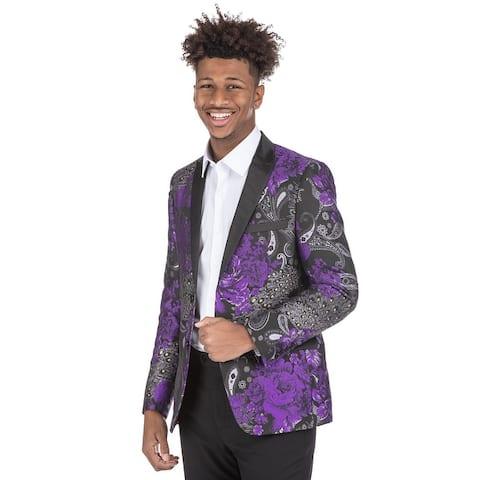 Men's Dress Suit Jacket Floral Luxury Jacquard Blazer