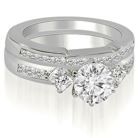 2.15 cttw. 14K White Gold Round And Princess Cut Diamond Bridal Set