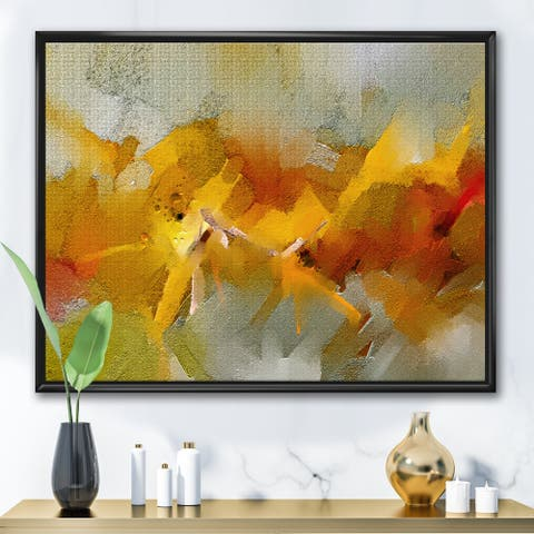 Designart 'Hand Drawn Oil Brush Strokes In Yellow And Orange' Modern Framed Canvas Wall Art Print