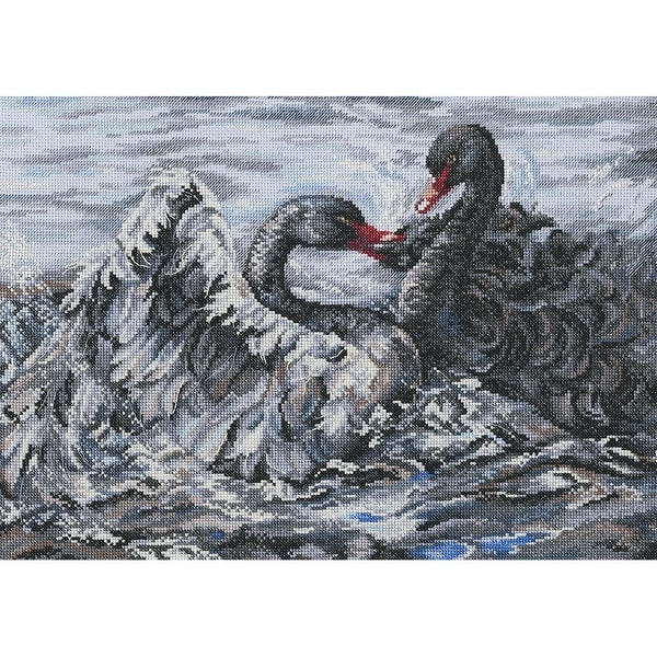 """Two Black Swans Counted Cross Stitch Kit-15.75""""X11"""" 14 Count"""