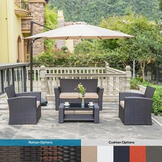 Link to Delano 4-piece Outdoor Patio Conversation Set with Cushions Similar Items in Patio Sets
