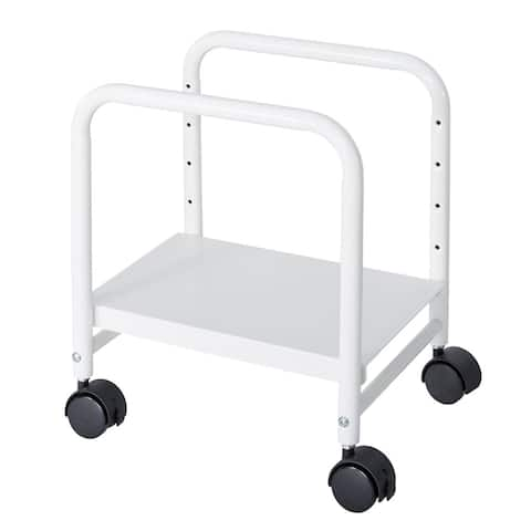 Offex Steel Height Adjustable Computer CPU Mobile Rolling Stand Cart Holder - White