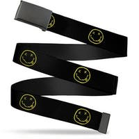 Blank Black  Buckle Nirvana Smiley Face Repeat Black Yellow Webbing Web Belt