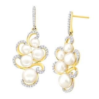 1/5 ct Diamond & Freshwater Button Pearl Swirl Drop Earrings in 14K Gold