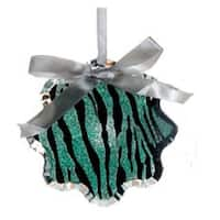 "4.5"" Glittered Teal Zebra Print Snowflake Prism Christmas Ornament - green"