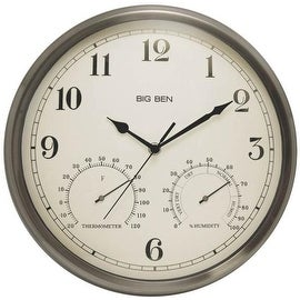 Acu rite 18 inch outdoor atomic wall clock 15815862 shopping great deals on - Large brushed nickel wall clock ...