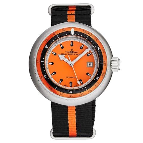 Zeno Men's 500-2824-I5 'Divers' Orange Dial Orange/Black Striped Fabric Strap Automatic Watch