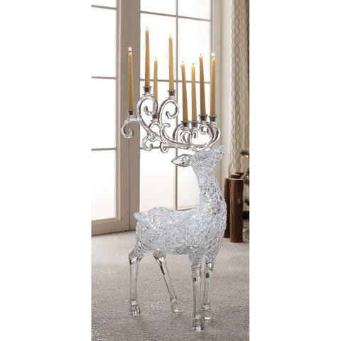 "35"" Clear LG Textured Candelabra Deer Decorative Christmas Ornament"