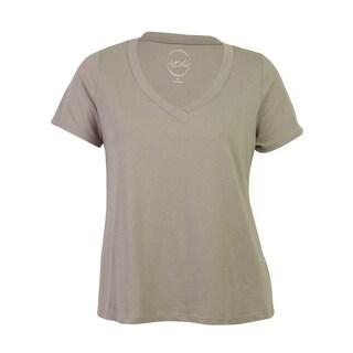 INC International Concepts Plain T-Shirt - grey