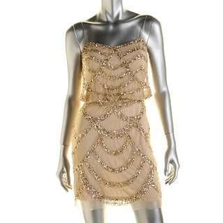 Aidan Mattox Womens Embellished Blouson Cocktail Dress
