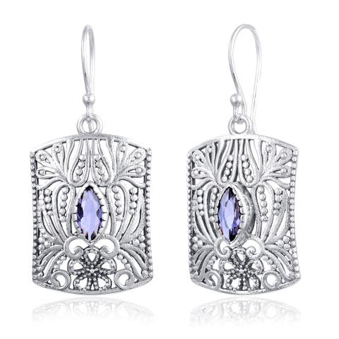 Alexandarite Sterling Silver Marquies Dangle Earrings by Orchid Jewelry