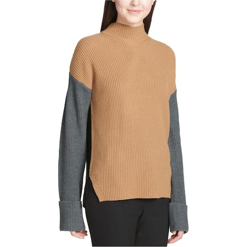 Calvin Klein Womens Colorblocked Knit Sweater, Brown, X-Large