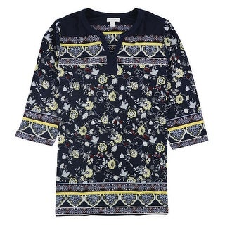 Link to Charter Club Womens Floral Tunic Blouse Similar Items in Tops