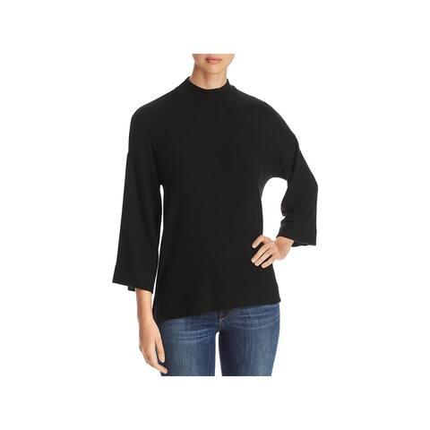 Three Dots Womens Mock Turtleneck Sweater Tencel Hi-Low - Black - S