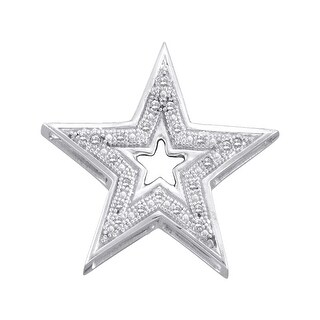 Star Pendant 10K White-gold With Diamonds 0.05 Ctw By MidwestJewellery - White