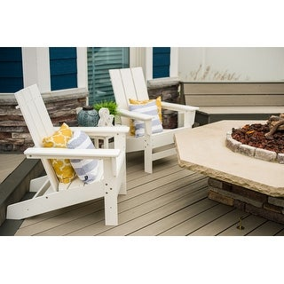 Link to Wyndtree 3 Piece Recycled Plastic Modern Adirondack Chair with Side Table Set Similar Items in Outdoor Sofas, Chairs & Sectionals
