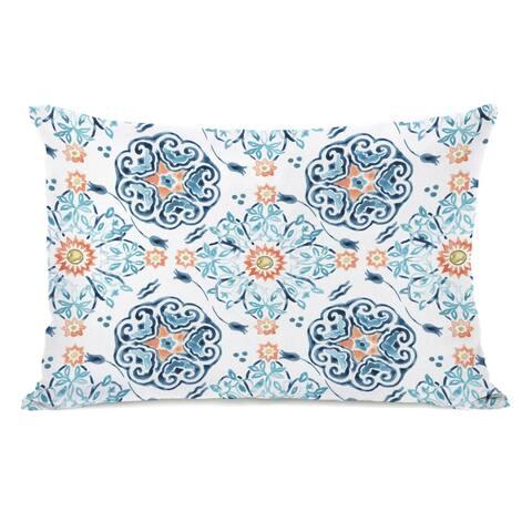 Kacey Floral - Blue Lumbar Pillow by June Erica Vess