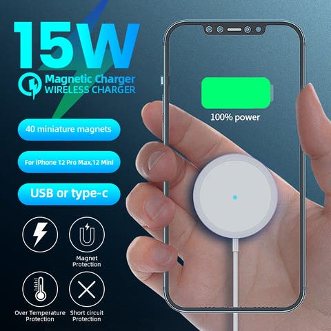 15W Magnetic Wireless Charger Pad Fast Charging For iPhone12/12 Mini/12 Pro/12 Pro
