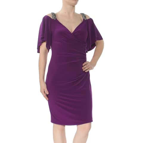 f02638a4 RALPH LAUREN Womens Purple Embellished Cold Shoulder Jersey Short Sleeve V  Neck Knee Length Cocktail Dress
