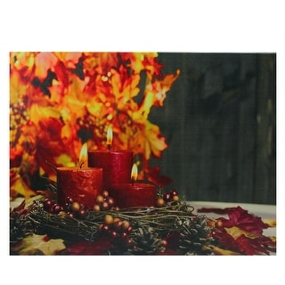 "LED Lighted Crimson Candles Festive Fall Autumn Canvas Wall Art 12"" x 15.75"" - N/A"