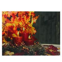 "LED Lighted Crimson Candles Festive Fall Autumn Canvas Wall Art 12"" x 15.75"" - Orange"