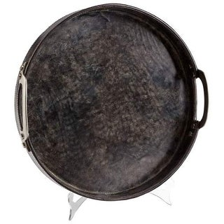 Cyan Design Large Rough N Ready Tray Rough' N Ready 16.25 Inch Diameter Leather and Wood Tray Made in India