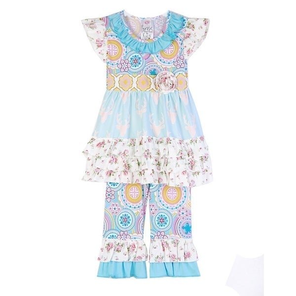 a90efd18e Shop Freckles + Kitty Little Girls Blue Medallion Rose Print 2 Pc ...