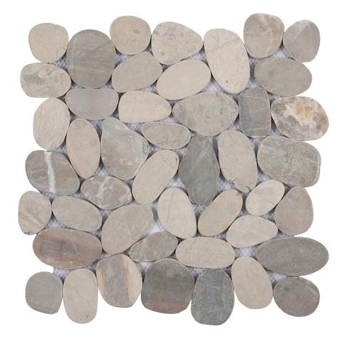 """Miseno MT-S3 Sliced Pebble - 12"""" x 12"""" Pebble Floor and Wall Mosaic"""