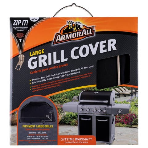 "Armor All 07801AA Large Grill Cover with Zip It, 65"" x 25"" x 45"""