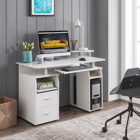 TiramisuBest Home Office Computer Desk with Drawers Wood Frame-white