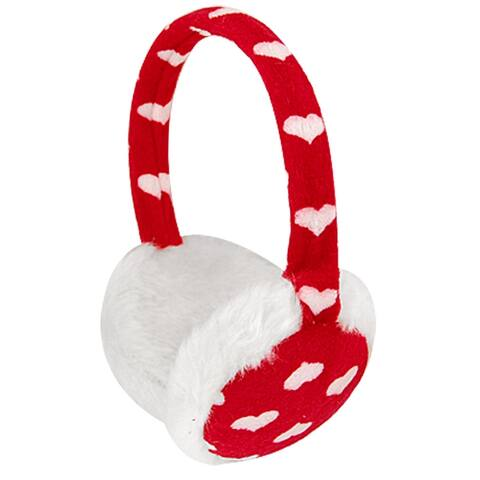 Unique Bargains Plush Coated Rim Headwear Earmuffs White Red for Ladies