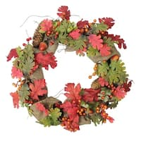 "18"" Autumn Harvest Acorn, Berry and Burlap Rustic Thanksgiving Wreath - Unlit - Red"