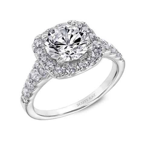 Ladies Engagement Ring Platinum with Cushion Shaped 0.75 CT Lab Created Diamond Halo By Scott Kay