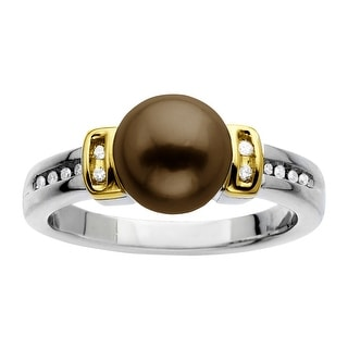 8mm Chocolate Freshwater Pearl Ring with Diamonds in Sterling Silver & 14K Gold - Brown