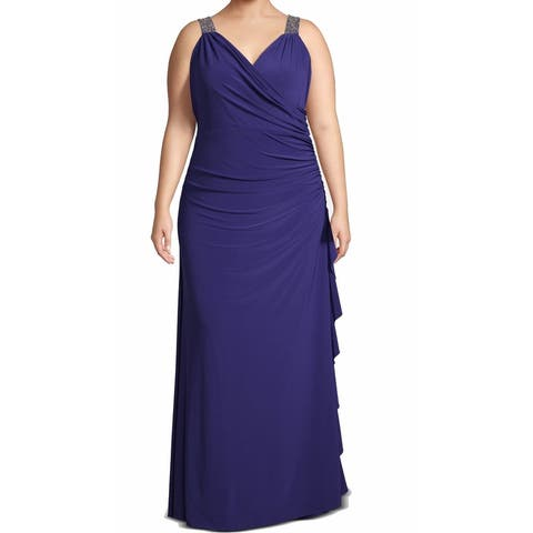 Betsy & Adam Women's Dress Blue Size 20W Plus Beaded Ruched Gown
