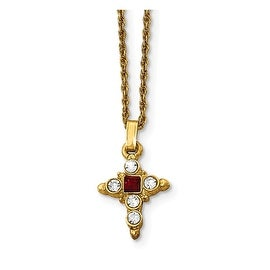 14k Gold IP Red & Clear Crystal Cross Necklace - 16in
