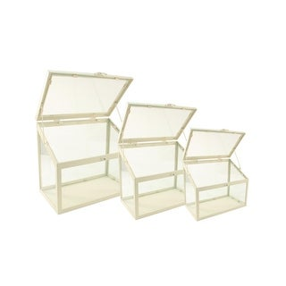 "Set of 3 Antique-White Metal and Glass Paneled Nesting Outdoor Greenhouse Terrariums 8.25""-12"""