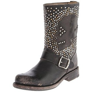 Frye Womens Jenna Skull Leather Studded Ankle Boots - 6 medium (b,m)