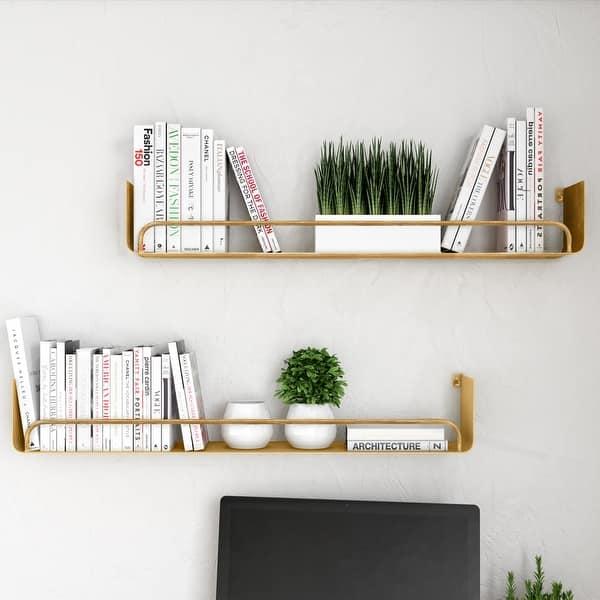 Carson Carrington Lacktorp Modern Wall Shelf Set Of 2 Overstock 29047880