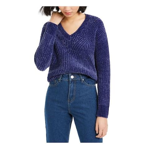 BAR III Womens Purple Long Sleeve V Neck Sweater Size L