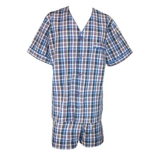 Majestic International Men's Easy Care Short Sleeve Short Leg Pajama Set - deep water blue - Small